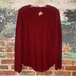 Red Cable Knit Sweater Size Medium