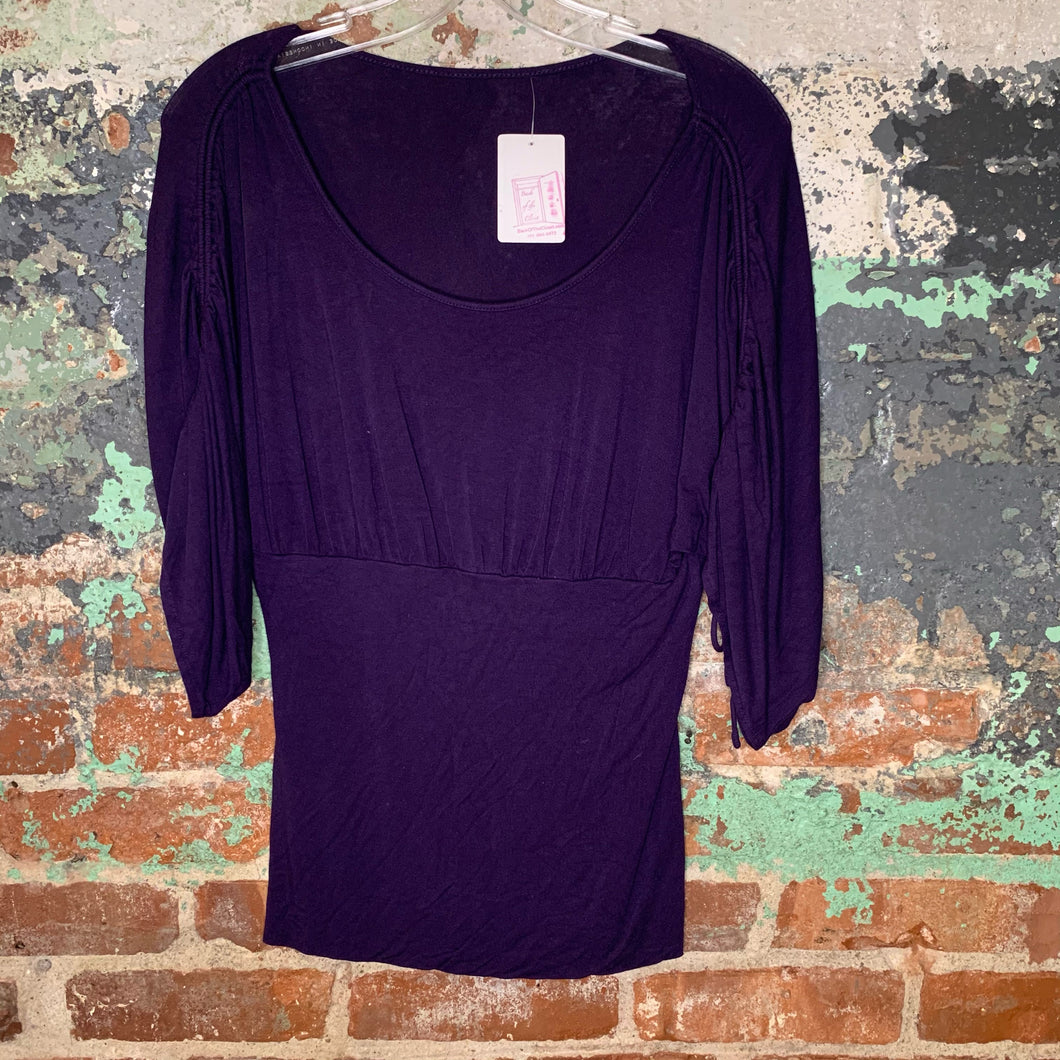 Purple Ruched Shouldered Tee Size Small