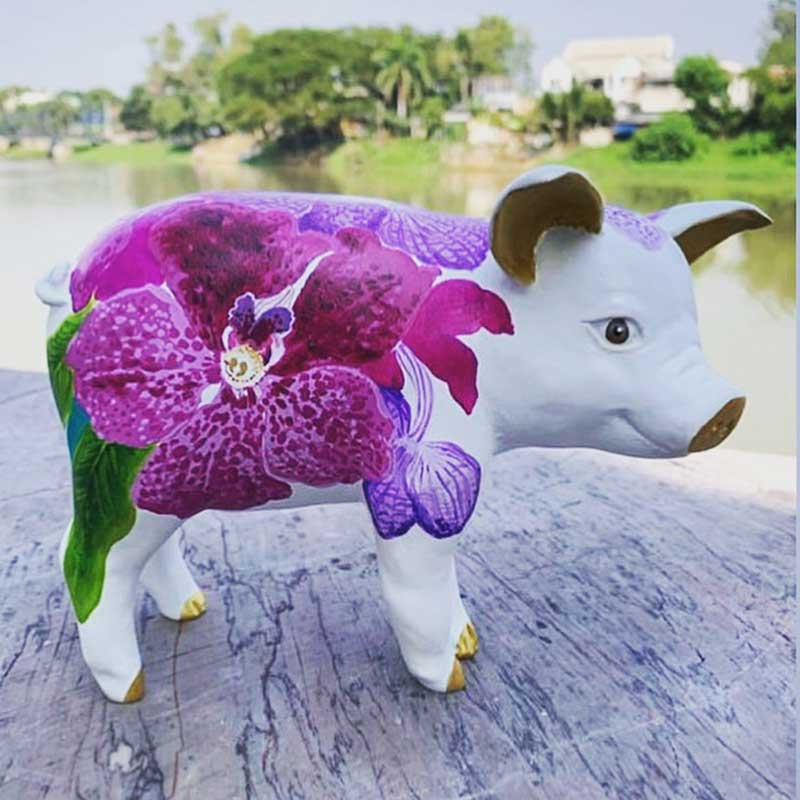 Chris Chun Painted Orchid Pig Figurine