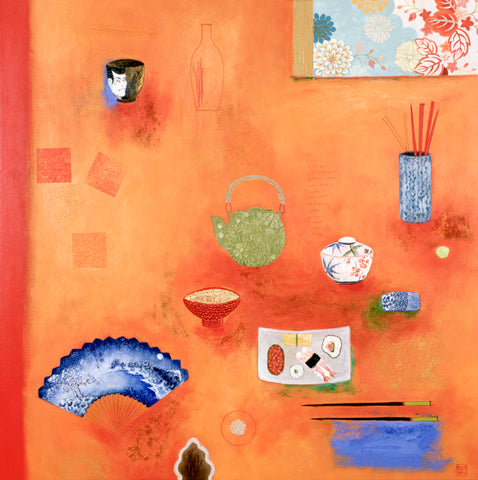 Chinoiserie Painting Mixed Media on Canvas