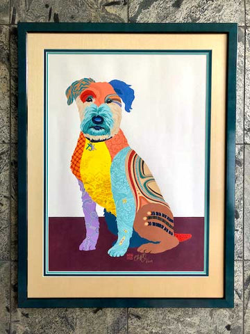 Framed Dog Portrait 'Sparky' by Artist Chris Chun