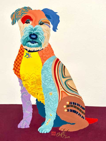 Dog Portrait 'Sparky' by Artist Chris Chun