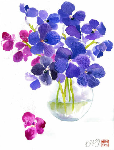 Orchid Watercolour Painting by Chris Chun