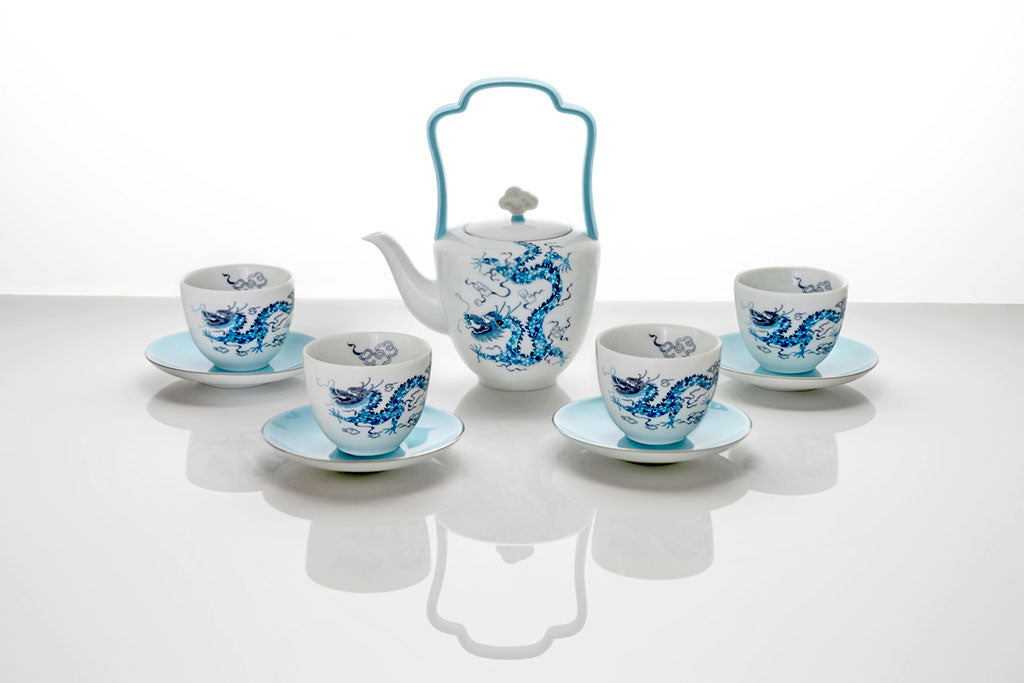 Celestial Dragon Fine Bone China Platinum TeaSet by Chris Chun