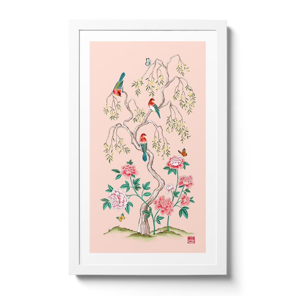 Pink Blossom - Chinoiserie inspired fine art print created by Artist and Textile Designer Chris Chun. Features Pink peony roses, birds and butterflies.