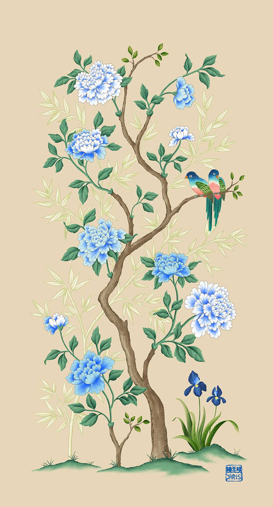 The Lovers is a chinoiserie wallpaper inspired artwork featuring a pair of birds amongst a flowering peony tree with bamboo backfdrop.