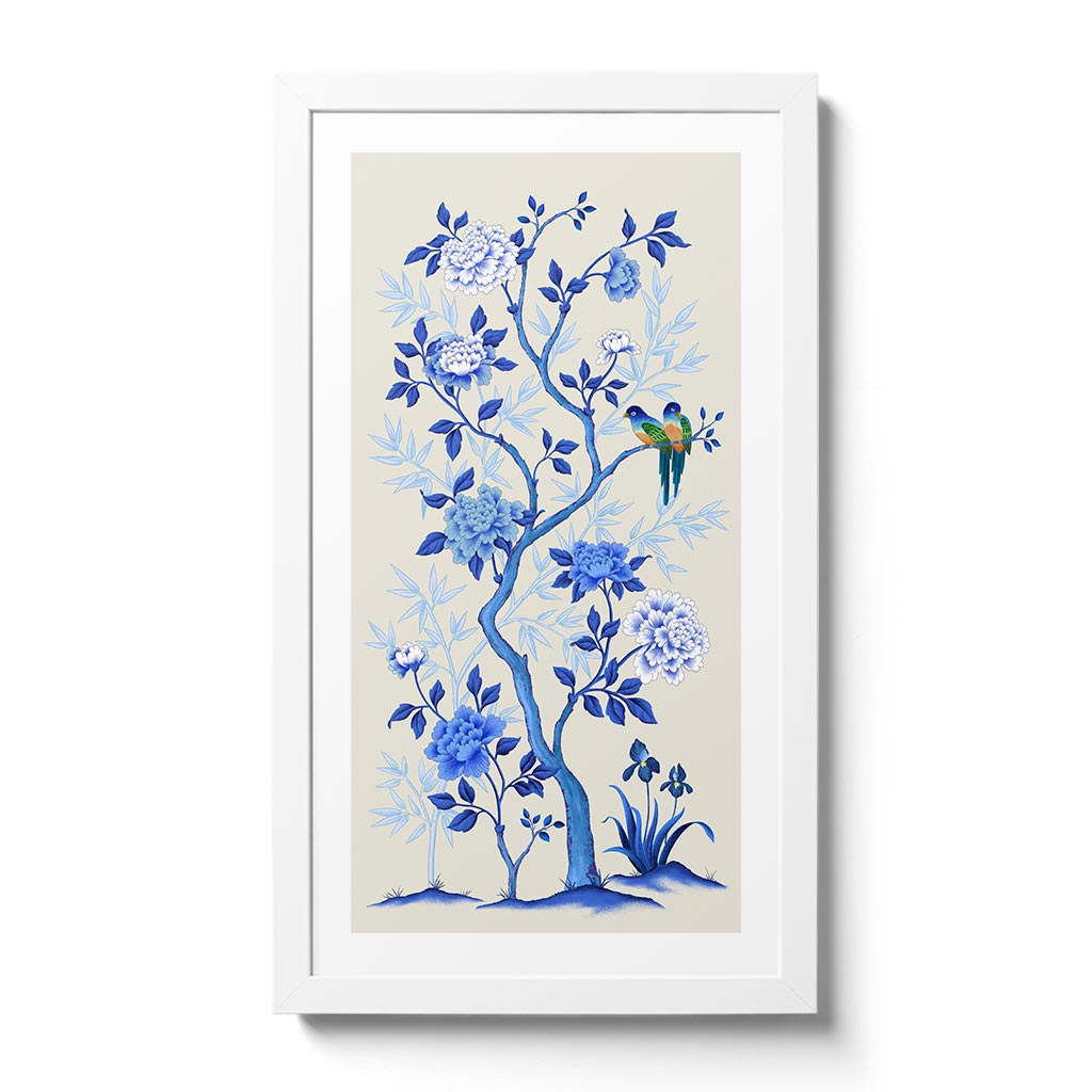The Lovers - Blue by Artist and Textile Designer Chris Chun. Chinoiserie inspired artwork in classic blue and white colourway.
