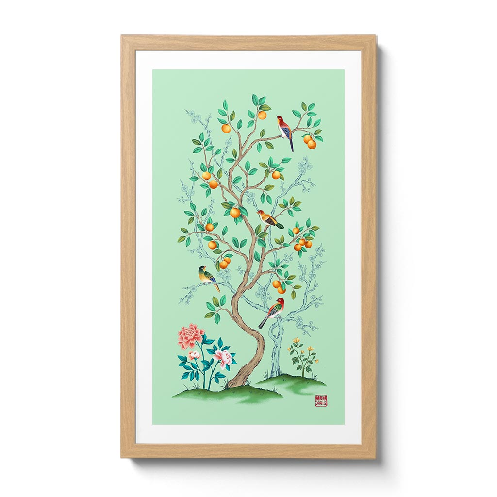 The Mandarin Tree in Celadon Colour Scheme. Chinoiserie Inspired Wall Decor by Artist and Textile Designer Chris Chun.