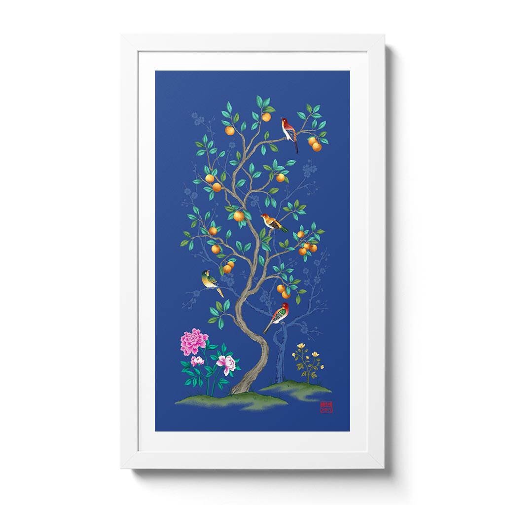 The Mandarin Tree features a tree of blossoming fruit adorned by colourful birds on a spring day.