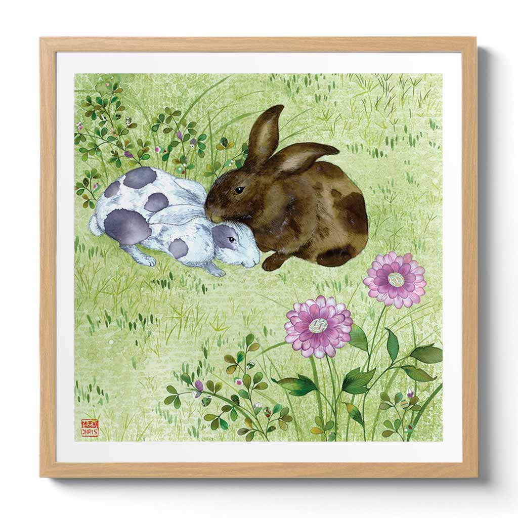 Bunny Love Fine Art Print by Artist Chris Chun
