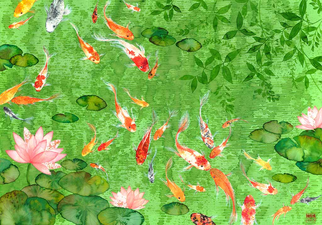 Chinoiserie Koi Art Print by Chris Chun. Chinese Style Painting of fish symbolises longevity and family.