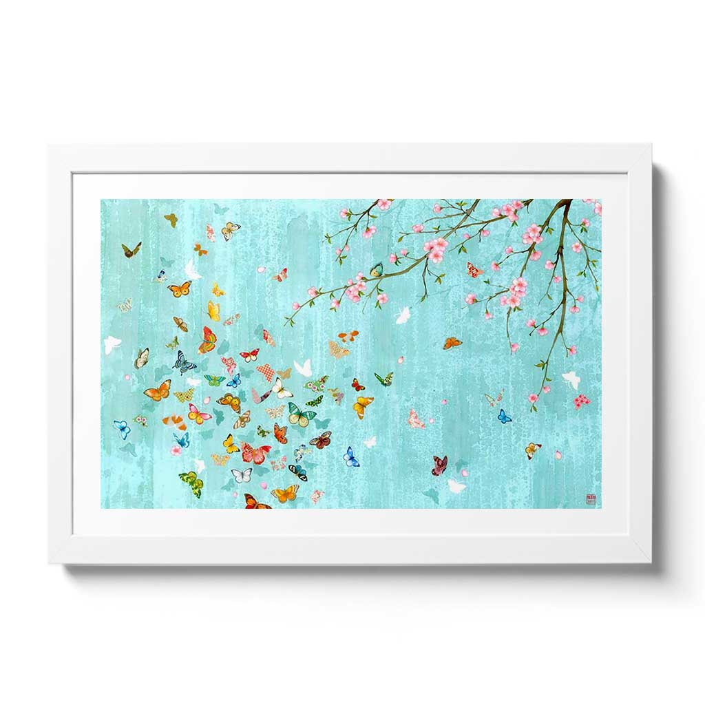 Hanami Fine Art Print by Artist Chris Chun. Printed on Hand crafted Japanese Washi Paper.