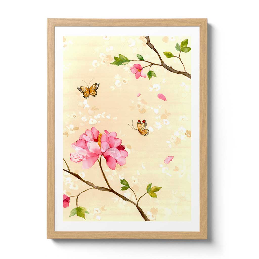 Peony Rose with Butterfly Fine Art Print by Artist Chris Chun