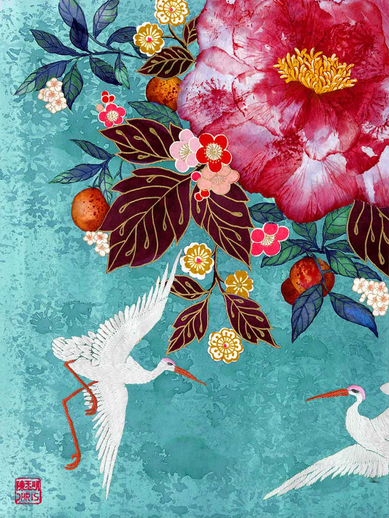 Contemporary Chinoiserie Artist Chris Chun combines his exquisite mixed media paintings with embroidery from antique textiles. Camellia Garden is from The Riches of Nature Collection.