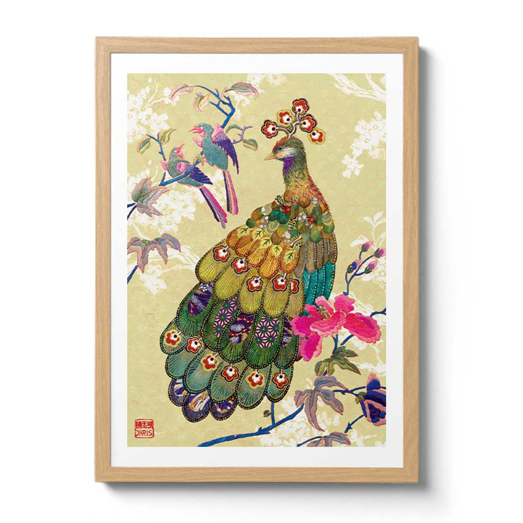 Contemporary Chinoiserie Artist Chris Chun combines his exquisite mixed media paintings with embroidery from antique textiles. Golden Peacock is from The Riches of Nature Collection.