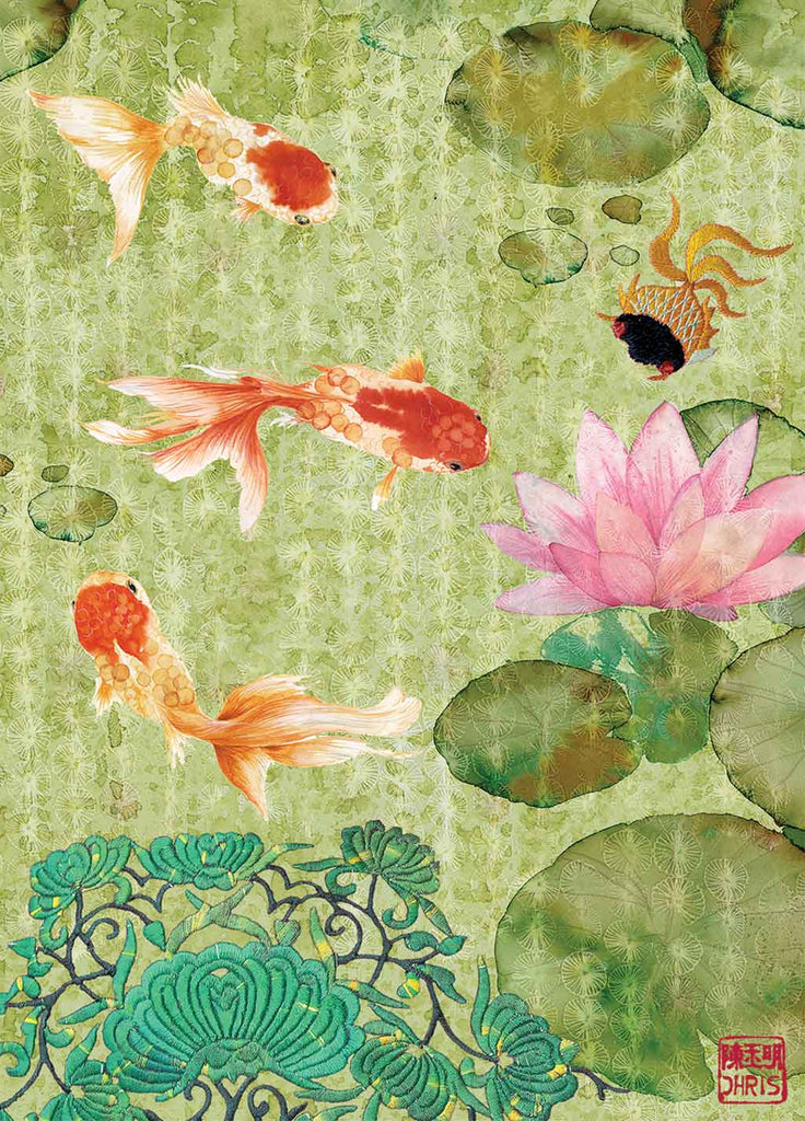 Contemporary Chinoiserie Artist Chris Chun combines his exquisite mixed media paintings with embroidery from antique textiles. Jade River is from The Riches of Nature Collection.