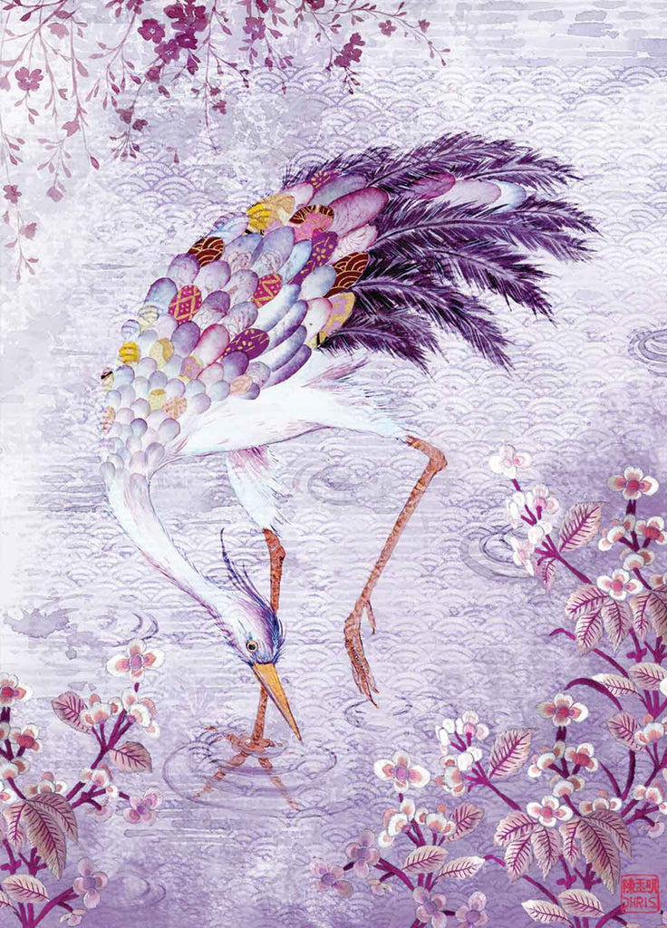 Contemporary Chinoiserie Artist Chris Chun combines his exquisite mixed media paintings with embroidery from antique textiles. Mr Crane is from The Riches of Nature Collection.