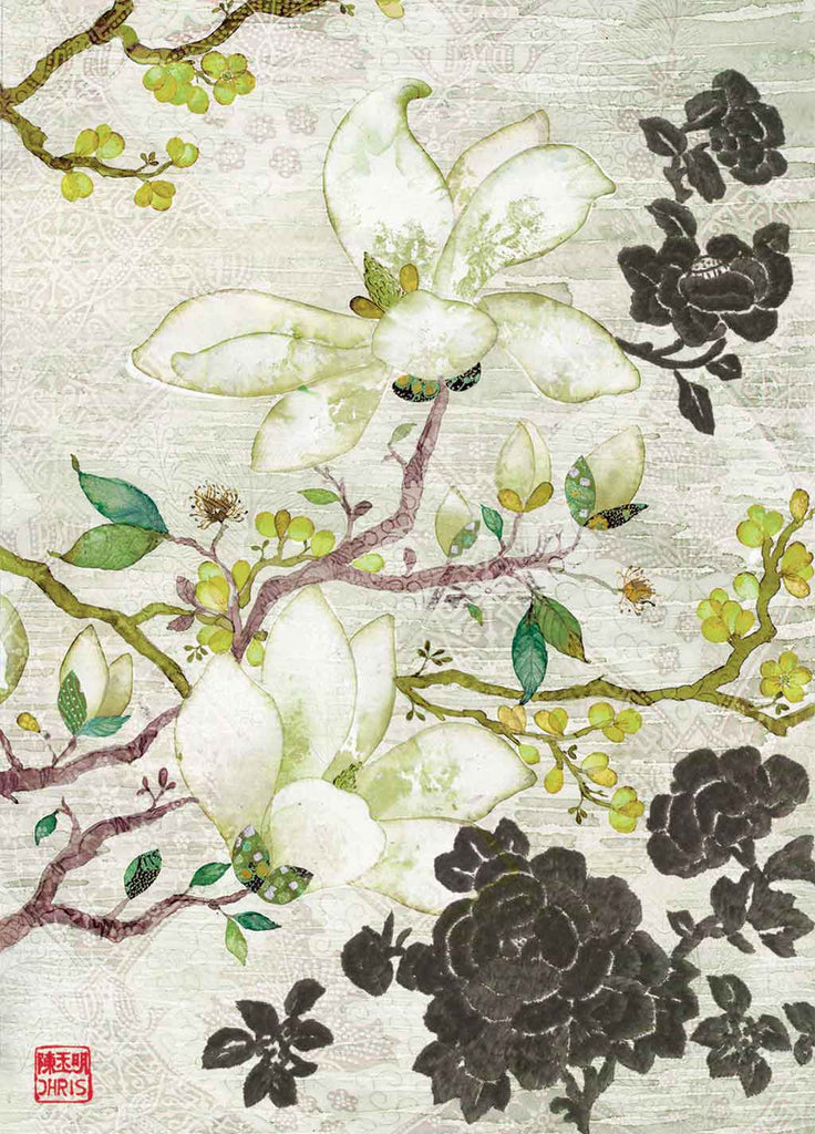Contemporary Chinoiserie Artist Chris Chun combines his exquisite mixed media paintings with embroidery from antique textiles. Oriental Blossoms is from The Riches of Nature Collection.