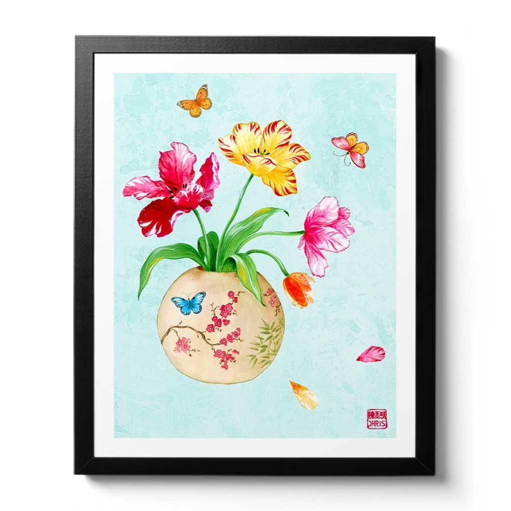 Tulip Vase Fine Art Print by Artist Chris Chun