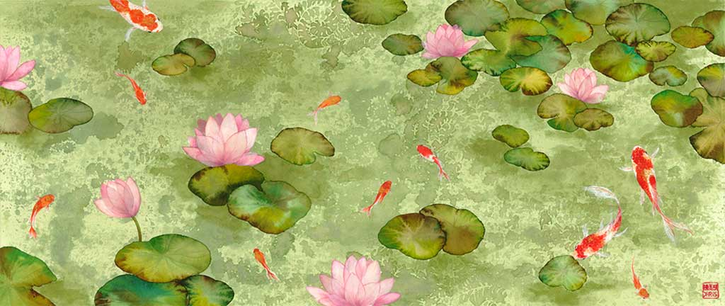 Koi Fish Fine Art Prints and Wall Decor by Australian Chinese Artist Chris Chun. Add beauty and positive feng shui to the home with Waterlily.