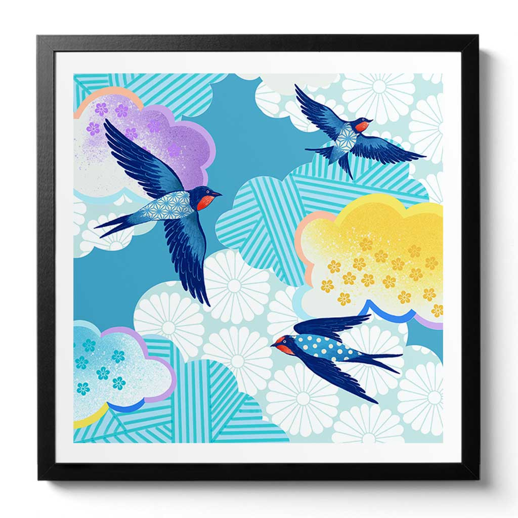 Bluebirds Art Print by Artist Chris Chun. Printed on Japanese Hand crafted Washi Bamboo Paper with Certificate of Authenticity.