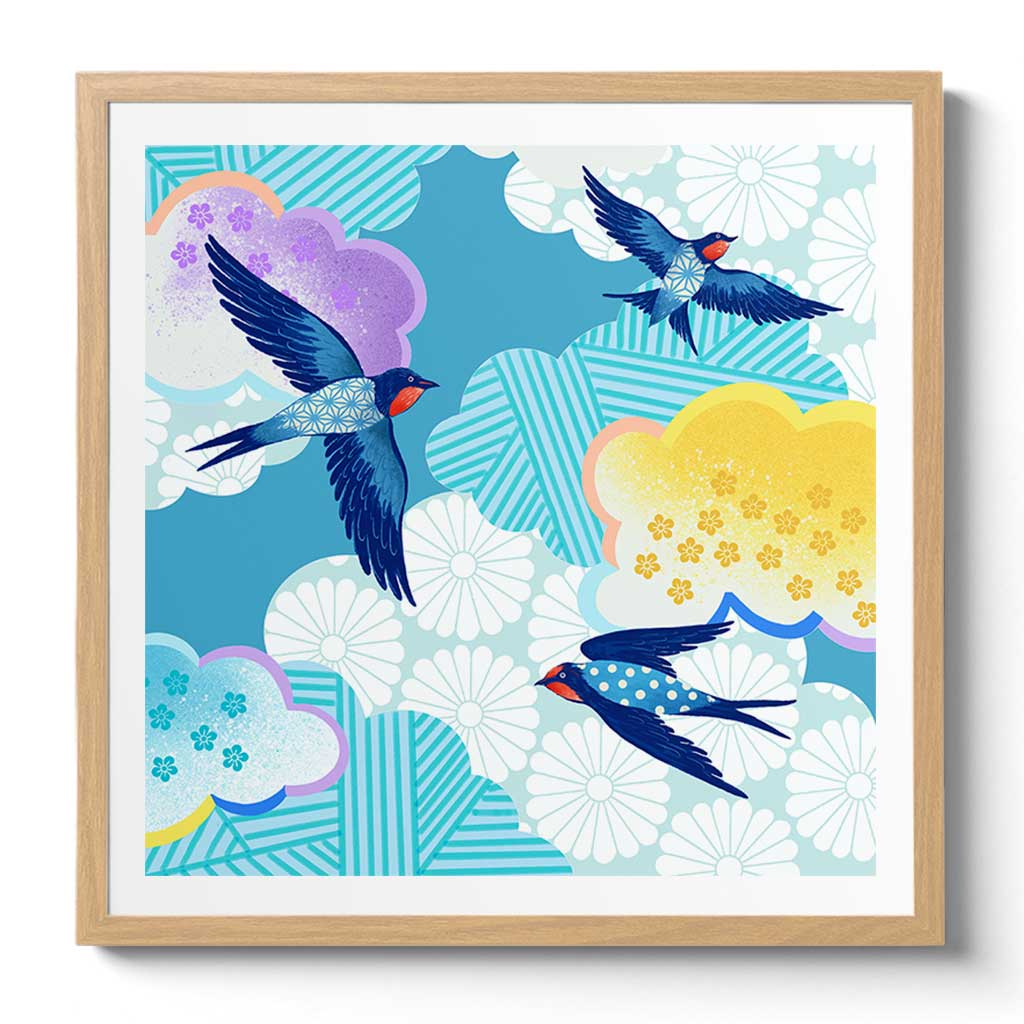 Framed Bluebirds Art Print by Chinoiserie Artist Chris Chun. Printed on Japanese Hand crafted Washi Bamboo Paper with Certificate of Authenticity.