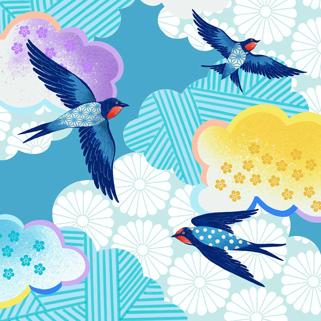 Chinoiserie Bluebirds Art Print by Artist Chris Chun. Printed on Japanese Hand crafted Washi Bamboo Paper with Certificate of Authenticity.