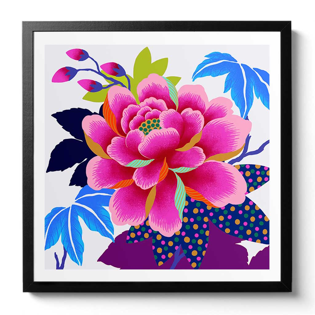 Electric Peony Fine Art Print by Chinoiserie Artist Chris Chun. Modern Chinoiserie Art and Home Decor.