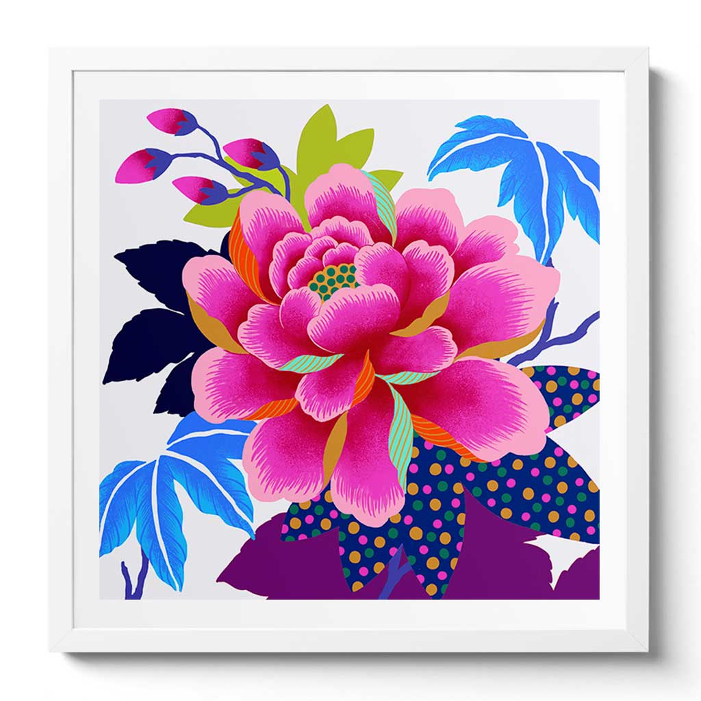 Electric Peony Fine Art Print by Artist Chris Chun. Printed on Handcrafted Japanese Washi Paper with Archival Inks.