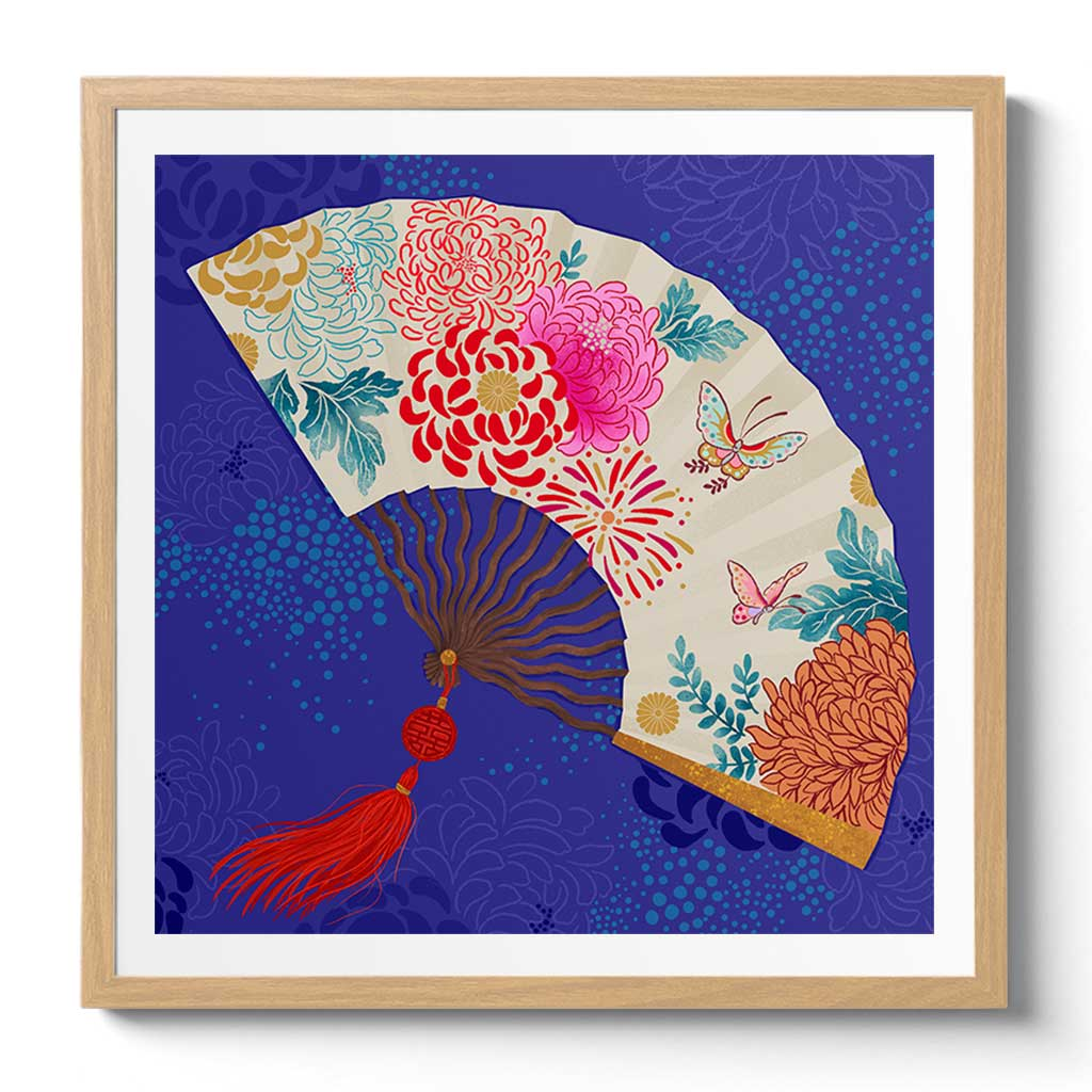 Oriental Fan Fine Art Print by Artist Chris Chun. Printed on Handcrafted Japanese Washi Paper with Archival Inks.