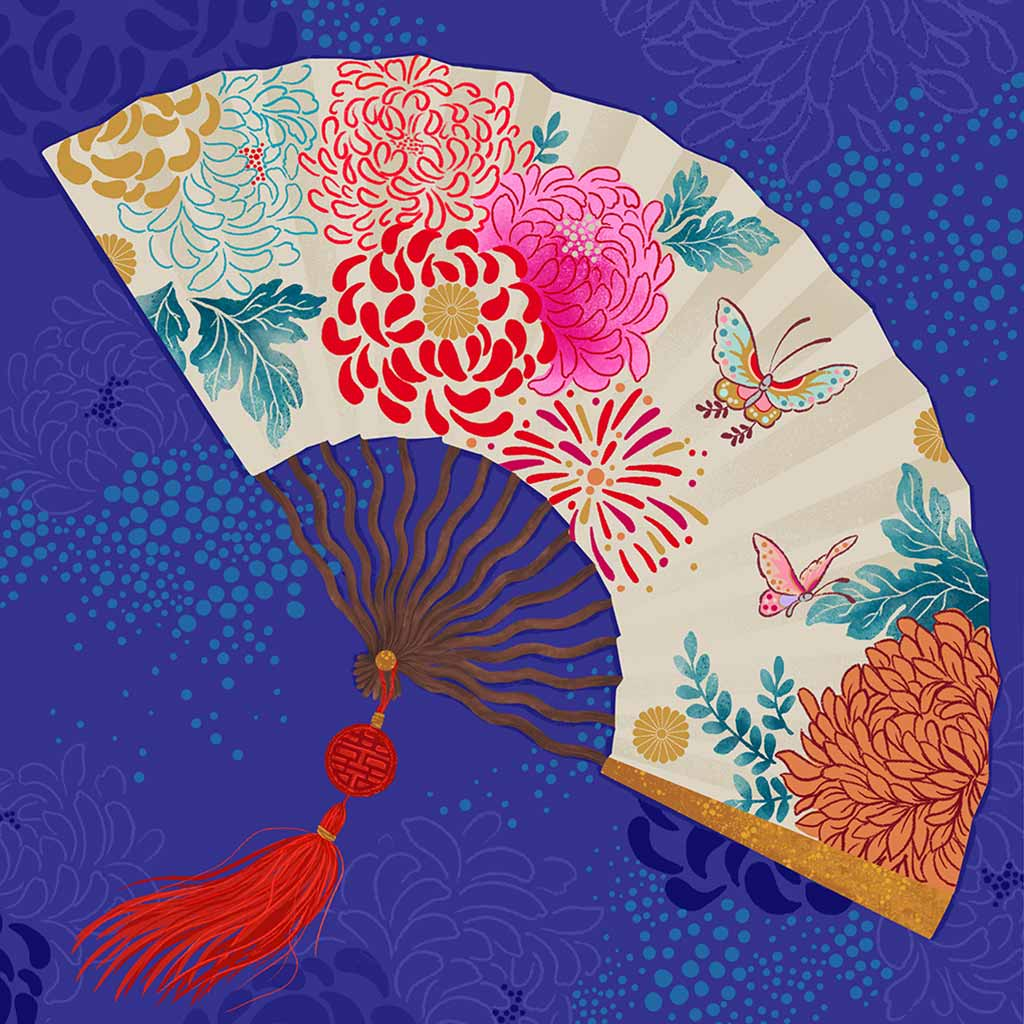 Chinoiserie Fan Art Print by Artist Chris Chun. Printed on Handcrafted Japanese Washi Paper with Archival Inks.