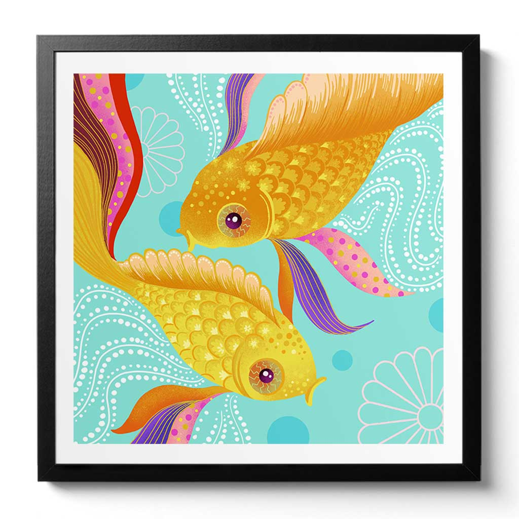 Framed Koi Fish Art Print by Chinoiserie Artist Chris Chun