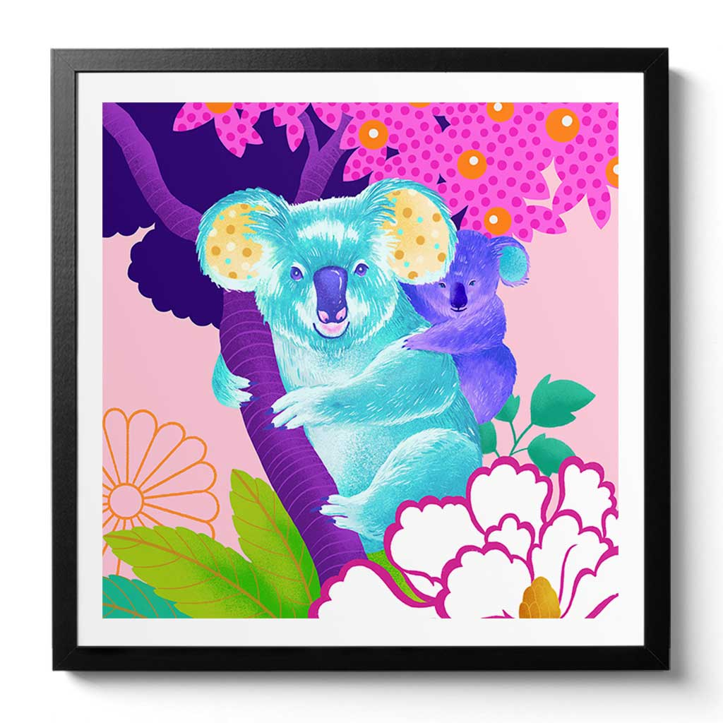 Koala Art Print by Chinoiserie Artist Chris Chun. Printed on Handcrafted Awagami Bamboo Paper. Available Framed/ Unframed