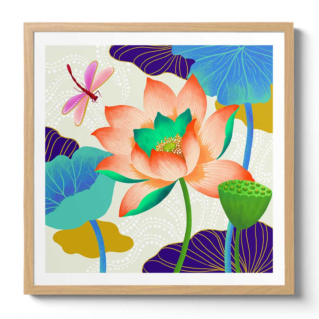 Framed Lotus Art Print by Chinoiserie Artist Chris Chun. Modern Chinosierie Home Decor and Style.
