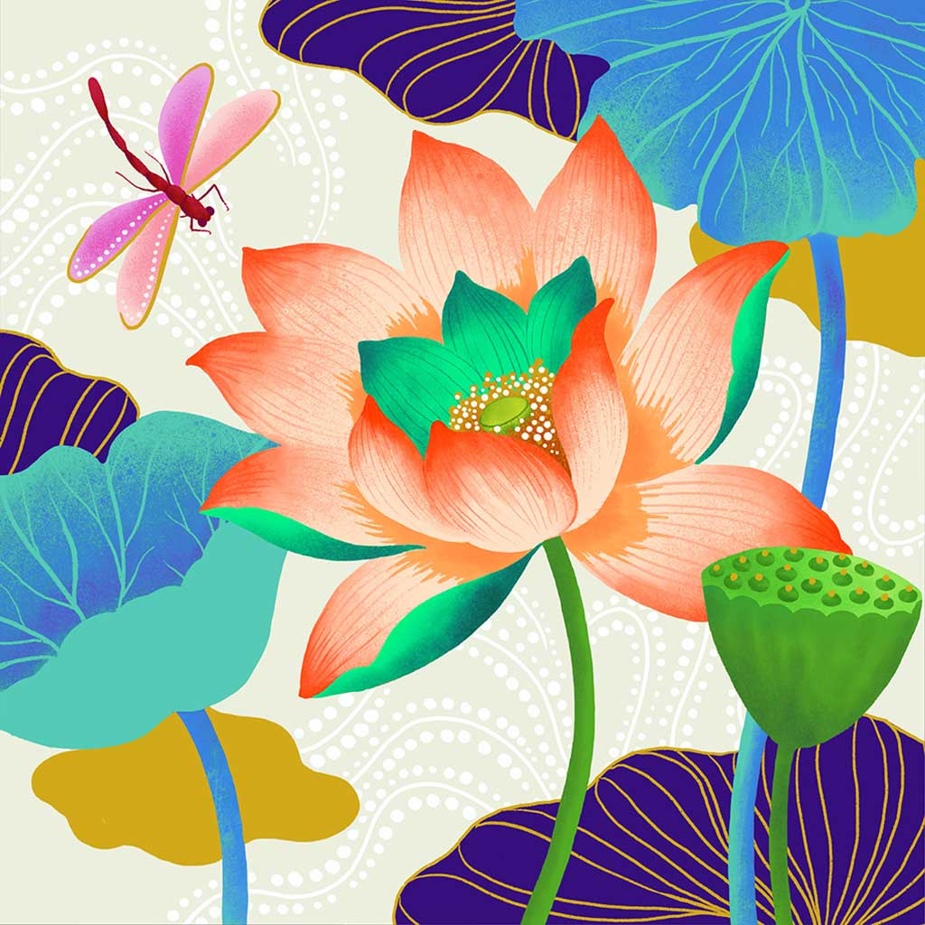 Lotus Art Print by Chinoiserie Artist Chris Chun. Printed on Handcrafted Japanese Washi Paper with Archival Inks.