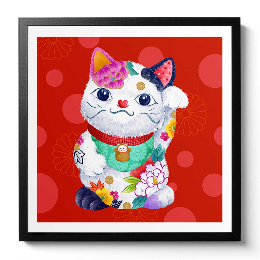 Maneki Neko Fine Art Print. Chunois Pop Collection by Artist Chris Chun. Available Framed/ Unframed