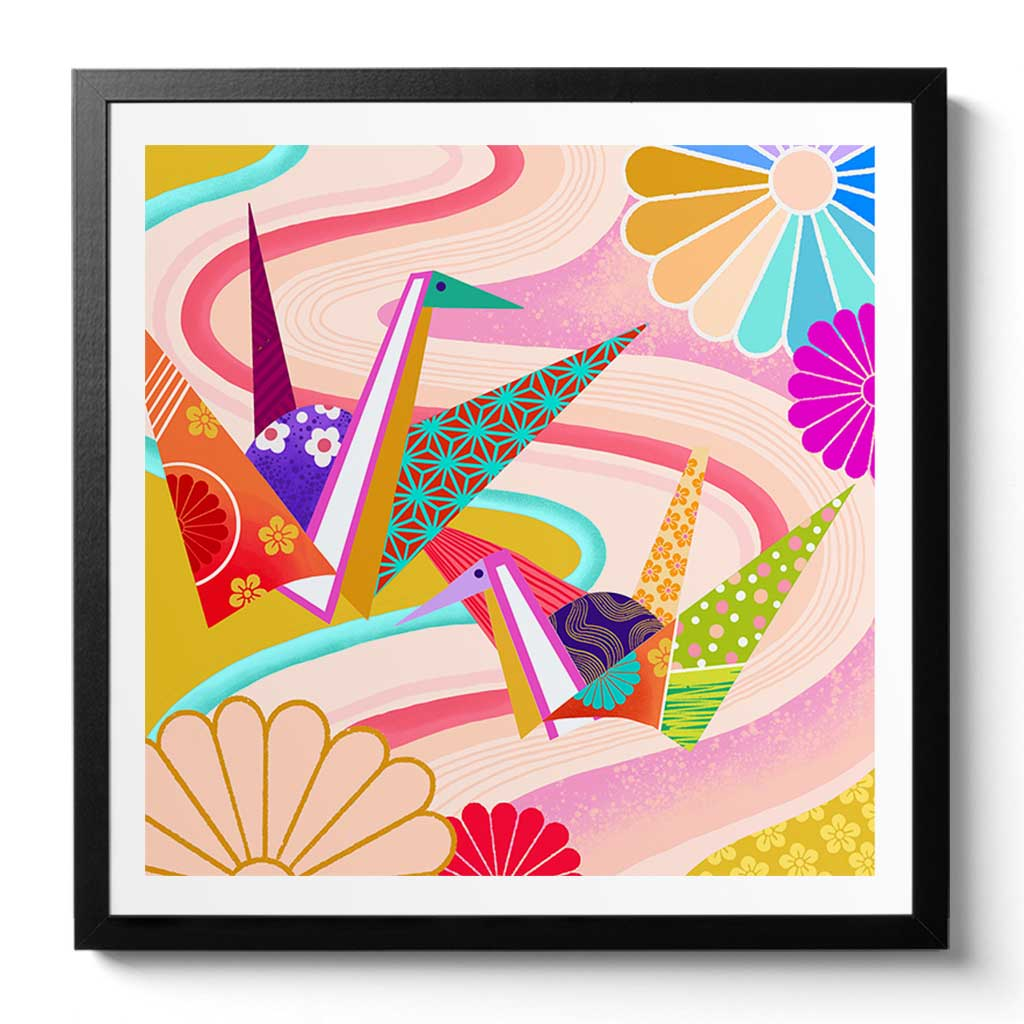 Origami Cranes Chinoiserie Art Print by Artist Chris Chun. Printed on Awagami Handcrafted Japanese Bamboo Paper.