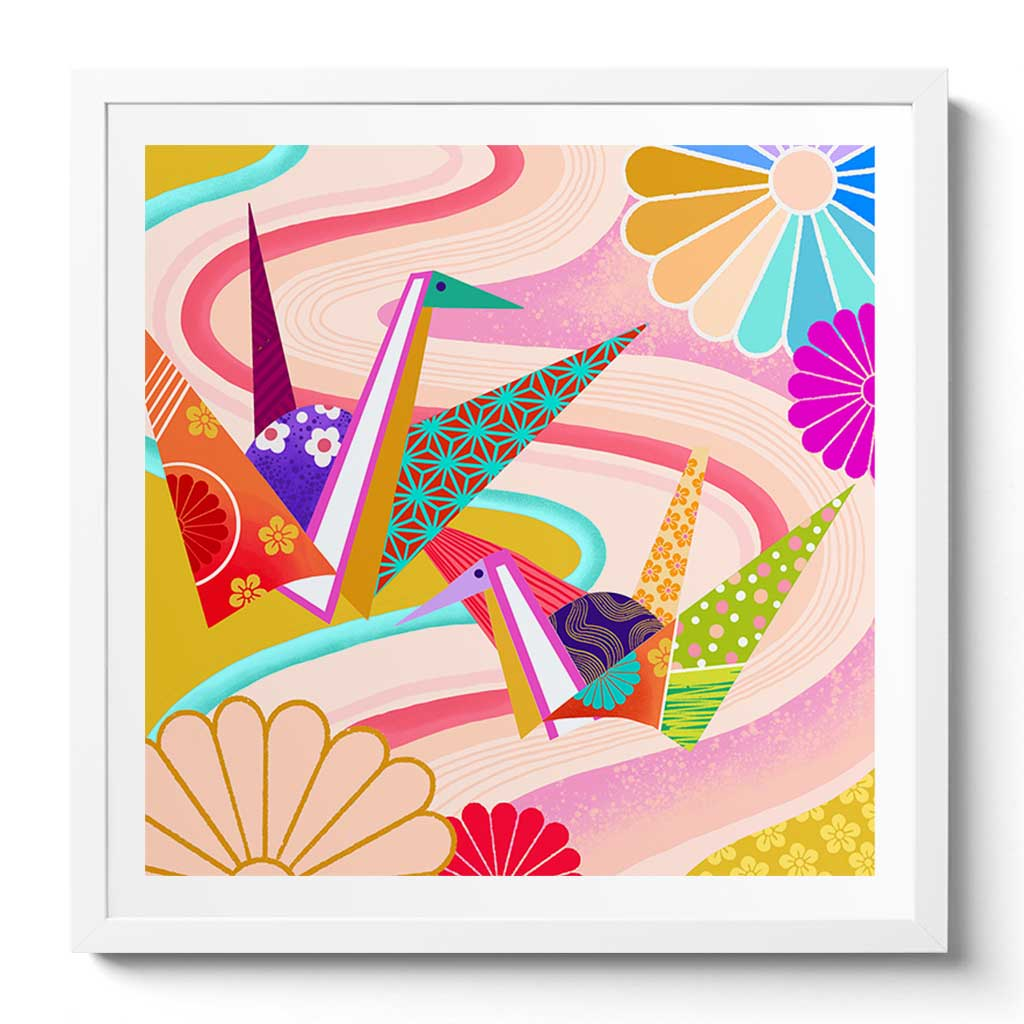 Origami Cranes Fine Art Print by Artist Chris Chun. Printed on Awagami Handcrafted Japanese Bamboo Paper.