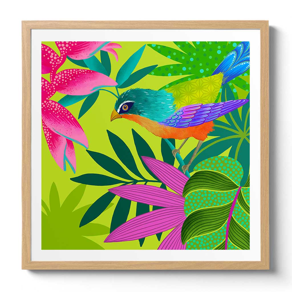 Paradiso Fan Fine Art Print by Artist Chris Chun. Printed on Handcrafted Japanese Washi Paper with Archival Inks.