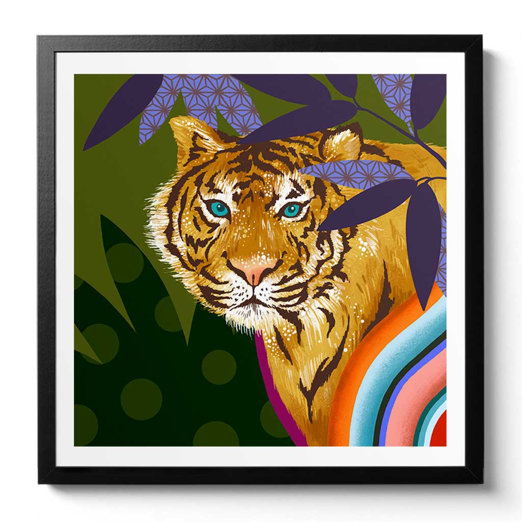 Tiger Art Print by Chinoiserie Artist Chris Chun. Printed on Awagami Handcrafted Bamboo Washi Paper.