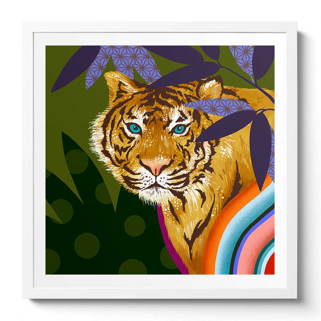 Framed Chinese Tiger Art by Chinoiserie Artist Chris Chun. Printed on Awagami Handcrafted Bamboo Washi Paper.