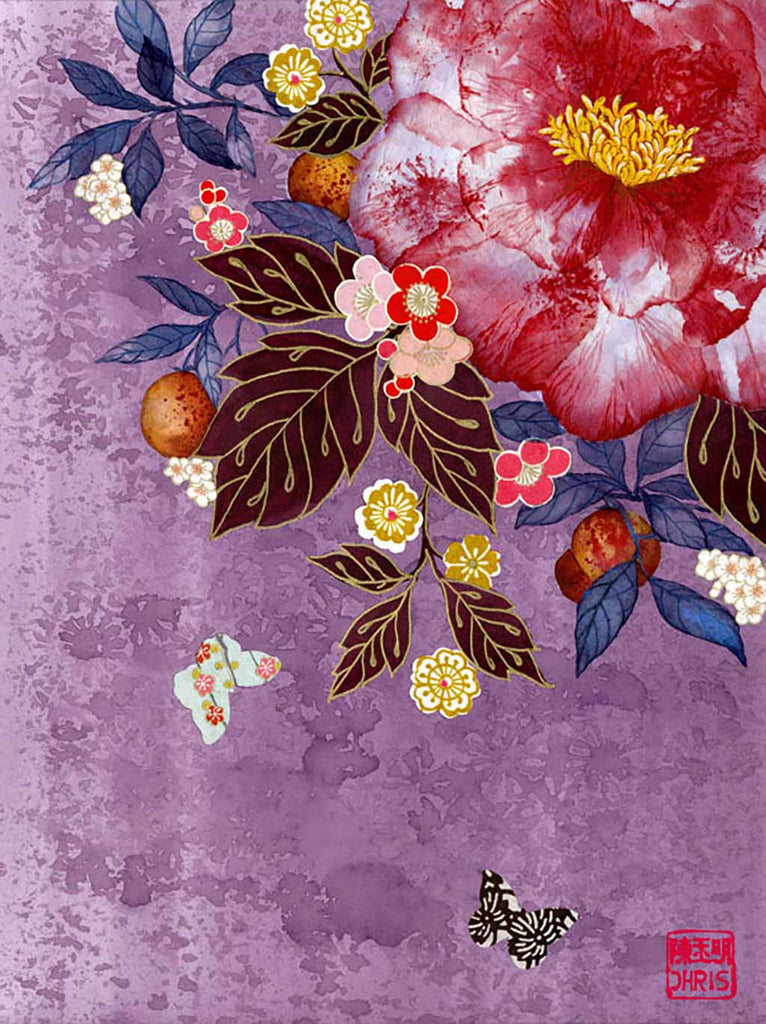 Japanese inspired Original Painting by Artist Chris Chun. Japanese Camellia with Butterflies and Origami Paper detail. Mixed Media on Paper.