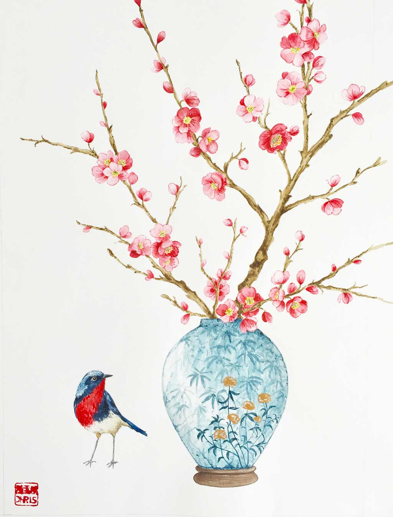 'Omicho' Cherry Blossom Watercolour Painting by Artist Chris Chun.