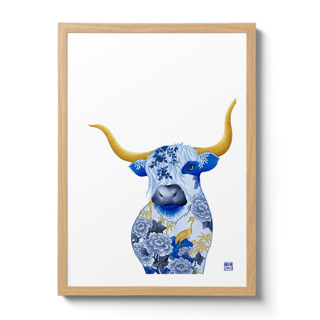 Chinese Zodiac Ox Fine Art Print. Available Framed/ Unframed. A unique and ideal present for those born in Year of the Ox - 1925, 1937, 1949, 1961, 1973, 1985, 1997, 2009, 2021