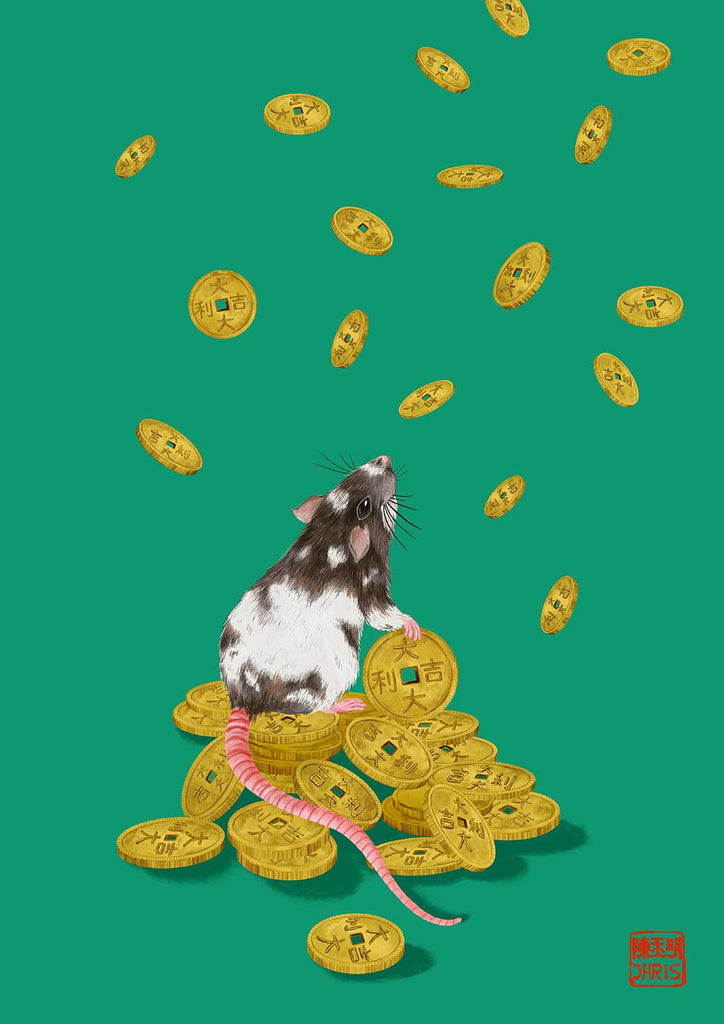Lucky Coins was created by Australian Chinese Artist Chris Chun to celebrate 2020 Year of the Rat. May everyone be blessed with good fortune!