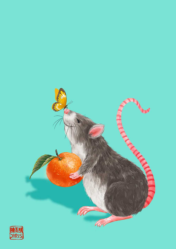 Lucky Peach by Australian Chinese Artist Chris Chun. Chinese Zodiac Year of the Rat fine art prints designed to bring good fortune, health, and prosperity for their owners.