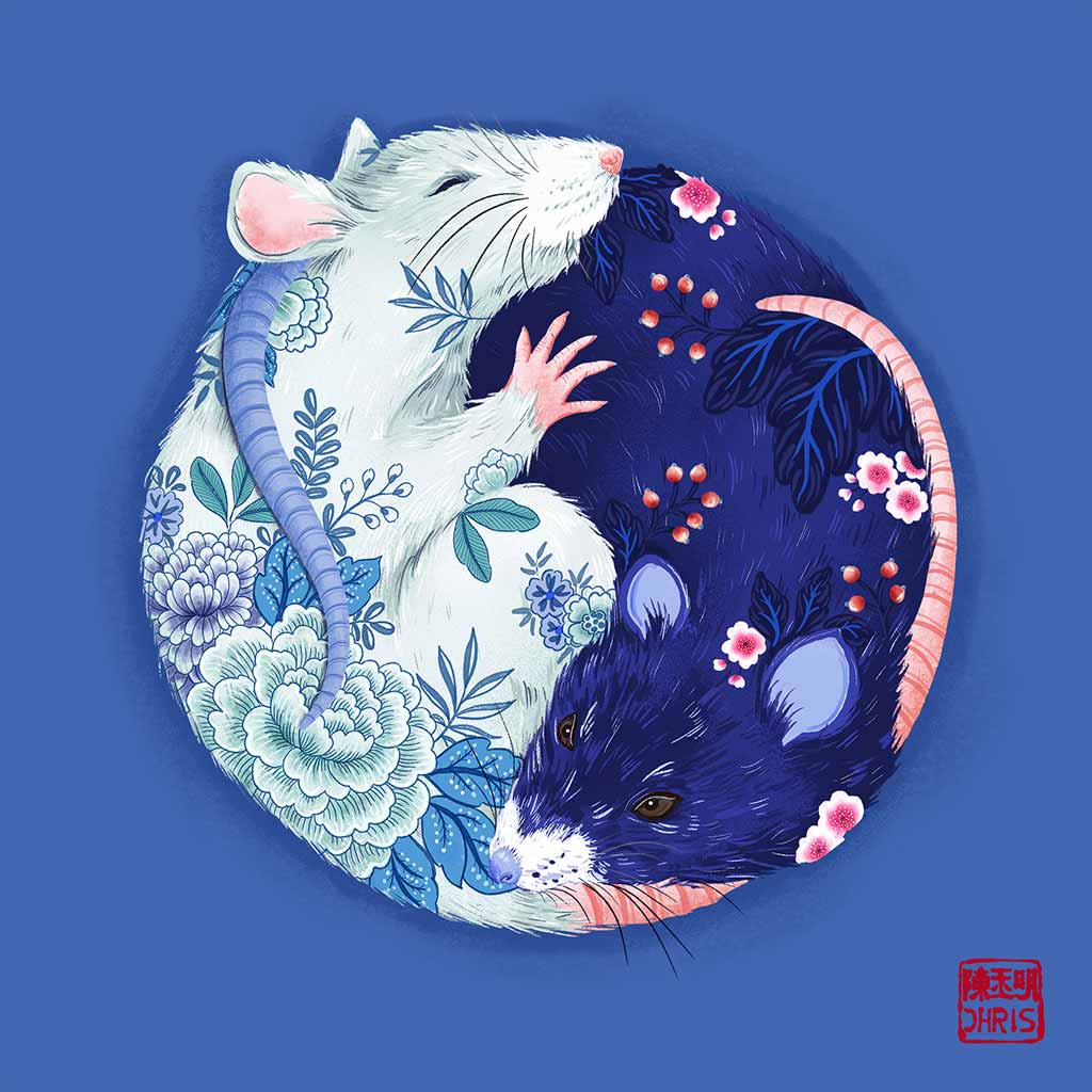 Yin and Yang Chinoiserie Garden. Chinese Zodiac Rat Art. created by Australian Chinese artist Chris Chun.