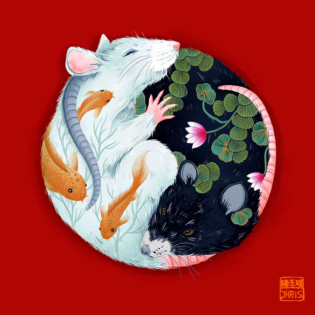 Yin and Yang Water. Chinese Zodiac Rat Art created by Australian Chinese artist Chris Chun.  Edit alt text