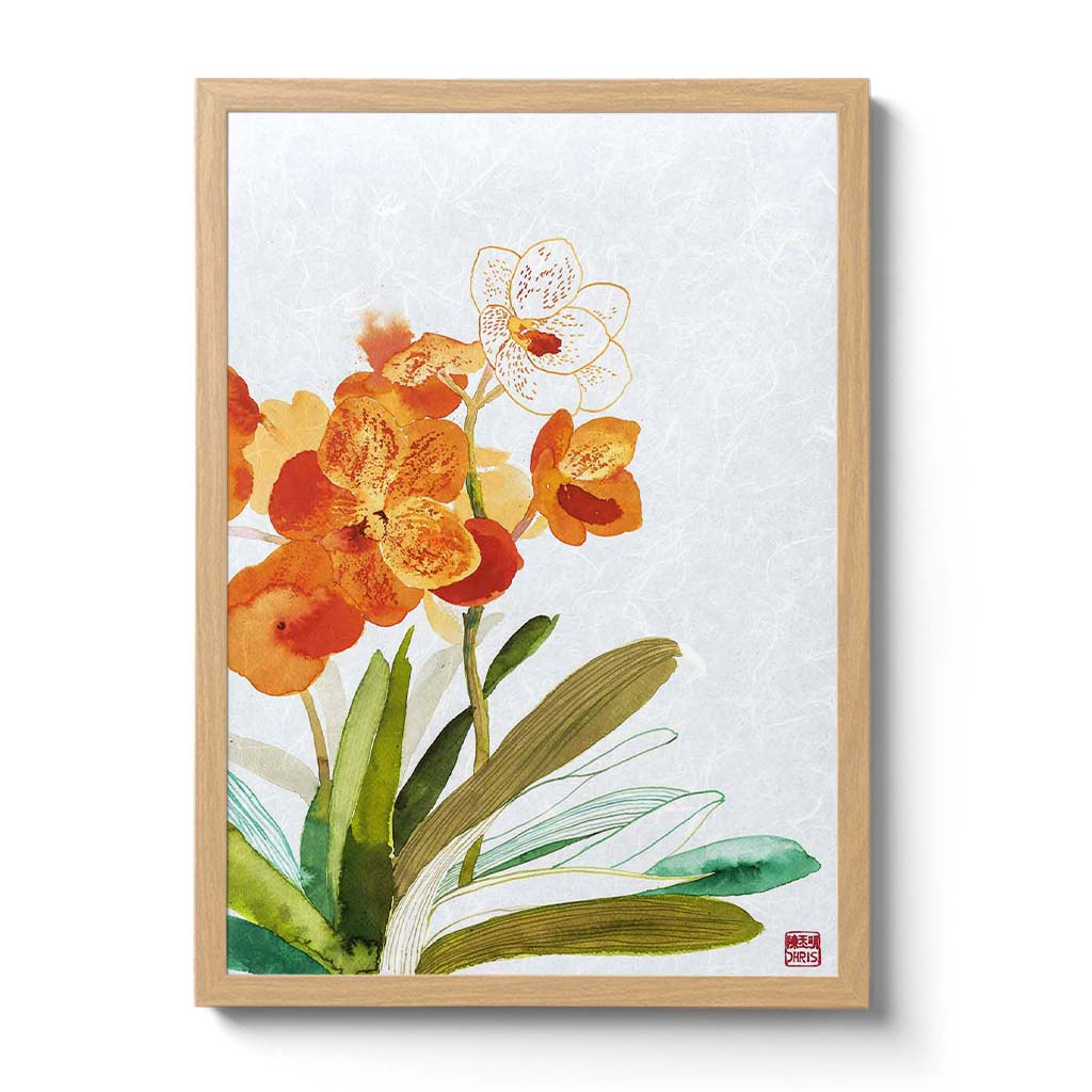 Vanda Betty Mae Steel Orchid Fine Art Print by artist Chris Chun. Archival Print on Awagami Handcrafted Unryu Paper.