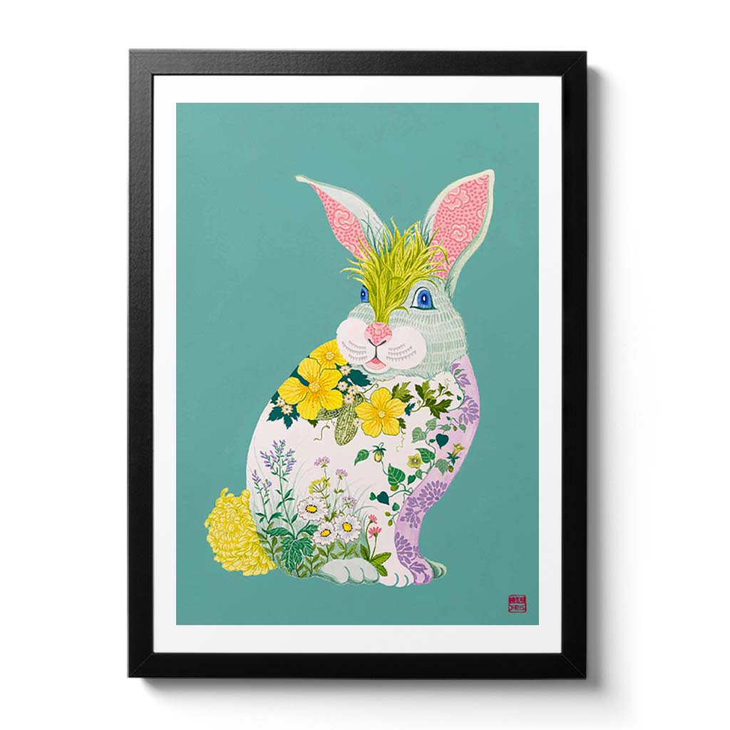 Botanical Bunny Chinese Zodiac Print featuring plants and herbs used in Chinese Medicine. Artist Chris Chun - Chinese Zodiac Wall Decor